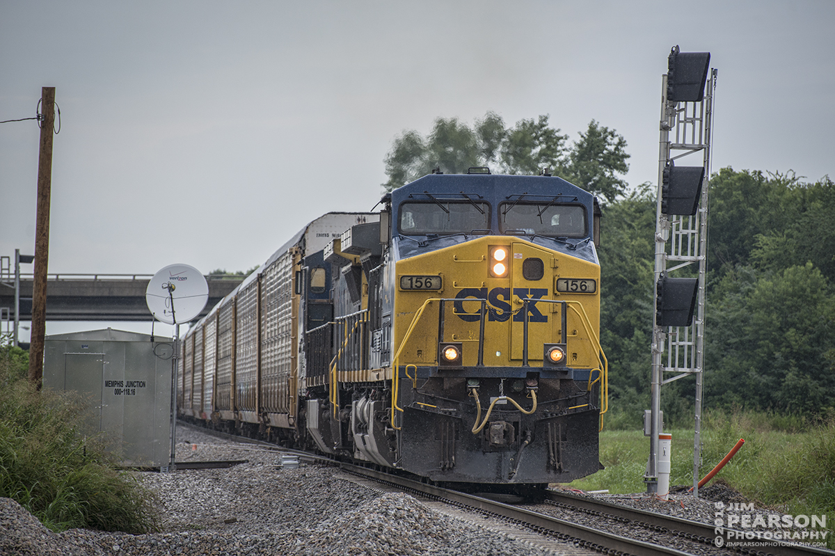 July 20, 2016 – CSX Q235-20 (Louisville, KY - Jacksonville, FL), with CSXT 156, passes through Memphis Junction at Bowling Green, Ky as it heads south on the Mainline Subdivision. - Tech Info: 1/1250 | f/5.3 | ISO 400 | Lens: Nikon 70-300 @ 195mm with a Nikon D800 shot and processed in RAW.