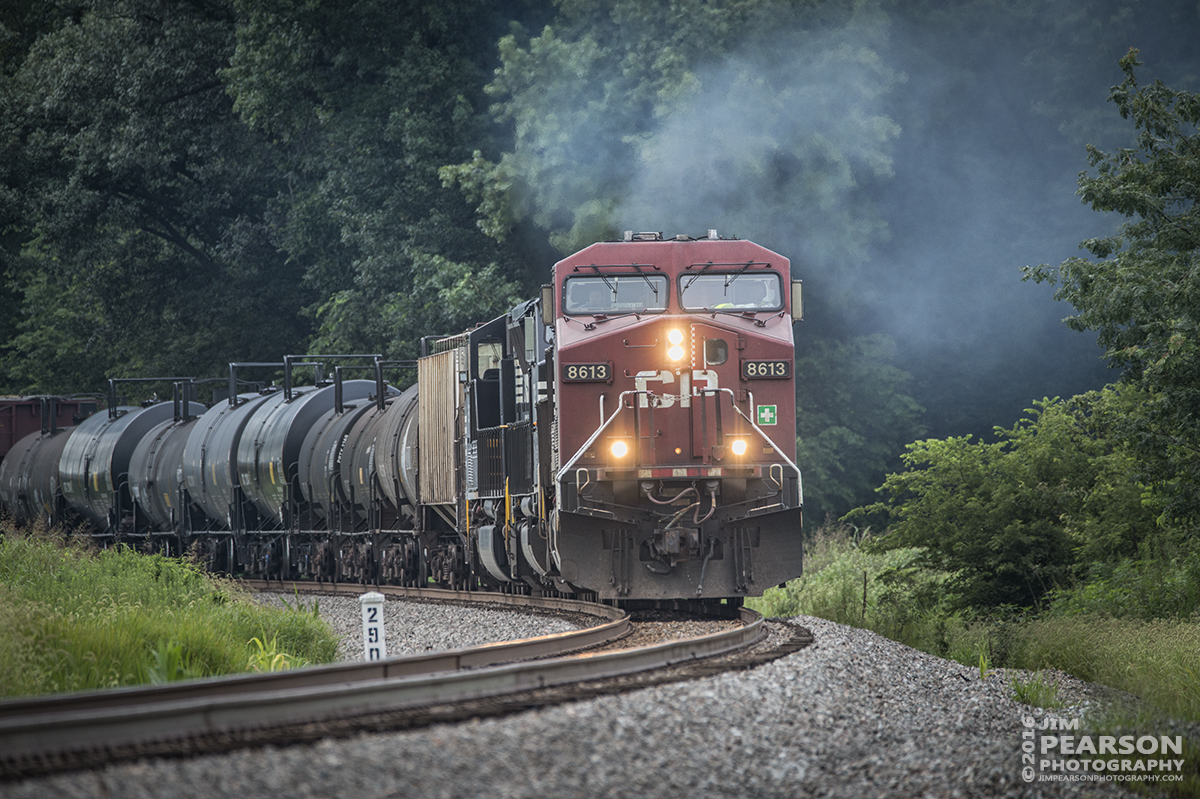 August 1, 2016 – CSX Q647-31, (Chicago, IL - Waycross, GA) with Canadian Pacific 8613 leading and NS 7025 and 2627 trailing, rounds Elmwood Curve at MP 290, north of Slaughters, Ky,  as it heads south on the Henderson Subdivision. - Tech Info: 1/1000 | f/6.3 | ISO 640 | Lens: Sigma 150-600 @ 500mm with a Nikon D800 shot and processed in RAW.