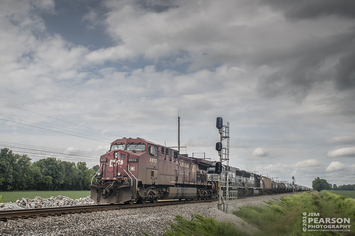 August 1, 2016 – CSX Q647-31, (Chicago, IL - Waycross, GA) with Canadian Pacific 8613 leading and NS 7025 and 2627 trailing, pases the signals at south Rankin at Rankin, Ky as it heads south on the Henderson Subdivision. - Tech Info: 1/1000 | f/7 | ISO 280 | Lens: Sigma 24-70 @ 32mm with a Nikon D800 shot and processed in RAW.