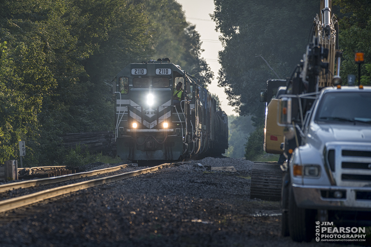 August 2, 2016 – A Paducah and Louisville Railway local moves slowly over a newly replaced switch at the Pee Vee Spur, just south of West Yard in Madisonville, Ky as it makes its way north. - Tech Info: 1/1000 | f/6.3 | ISO 400 | Lens: Sigma 150-600 @ 320mm with a Nikon D800 shot and processed in RAW.