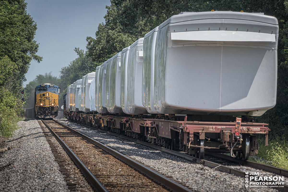 August 5, 2016 – Southbound CSX loaded coal train N320 (Evansville, IN (EVWR) - Cross, SC) meets  W987-30 with a load of windmill motors waiting to go north from the north end of Hanson siding as N320 makes it's way south on the Henderson Subdivision at Hanson, Ky. - Tech Info: 1/640 | f/13 | ISO 720 | Lens: Sigma 150-600 @ 290mm with a Nikon D800 shot and processed in RAW.