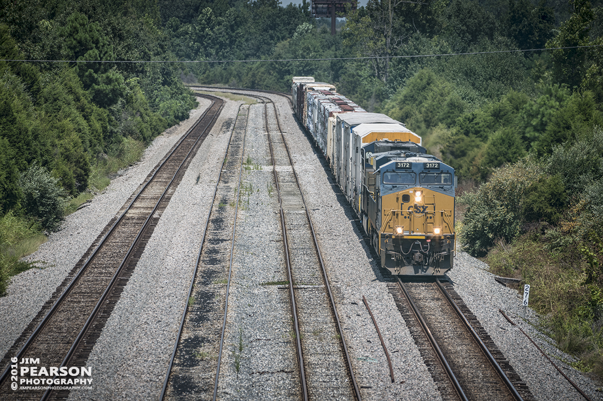 August 5, 2016 – A short CSX Q647-04 (Chicago, IL (BRC) - Waycross, GA) heads down the Power Siding at Atkinson Yard in Madisonville, Ky as it makes its way south on the Henderson Subdivision. - Tech Info: 1/3200 | f/5.6 | ISO 800 | Lens: Sigma 150-600 @ 300mm with a Nikon D800 shot and processed in RAW.