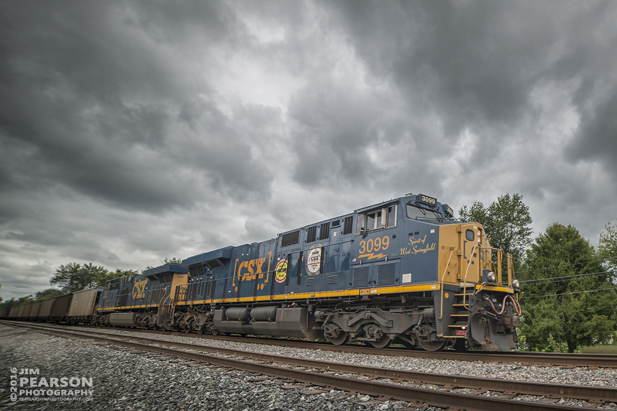 August 12, 2016 ? A CSX empty coal train with CSXT 3099, Spirit of West Springfield and CSX Safety Train engine, heads north through Hanson, Ky  on the Henderson Subdivision. – Tech Info: 1/1600 | f/2.8 | ISO 110 | Lens: Rokinon 14mm with a Nikon D800 shot and processed in RAW.