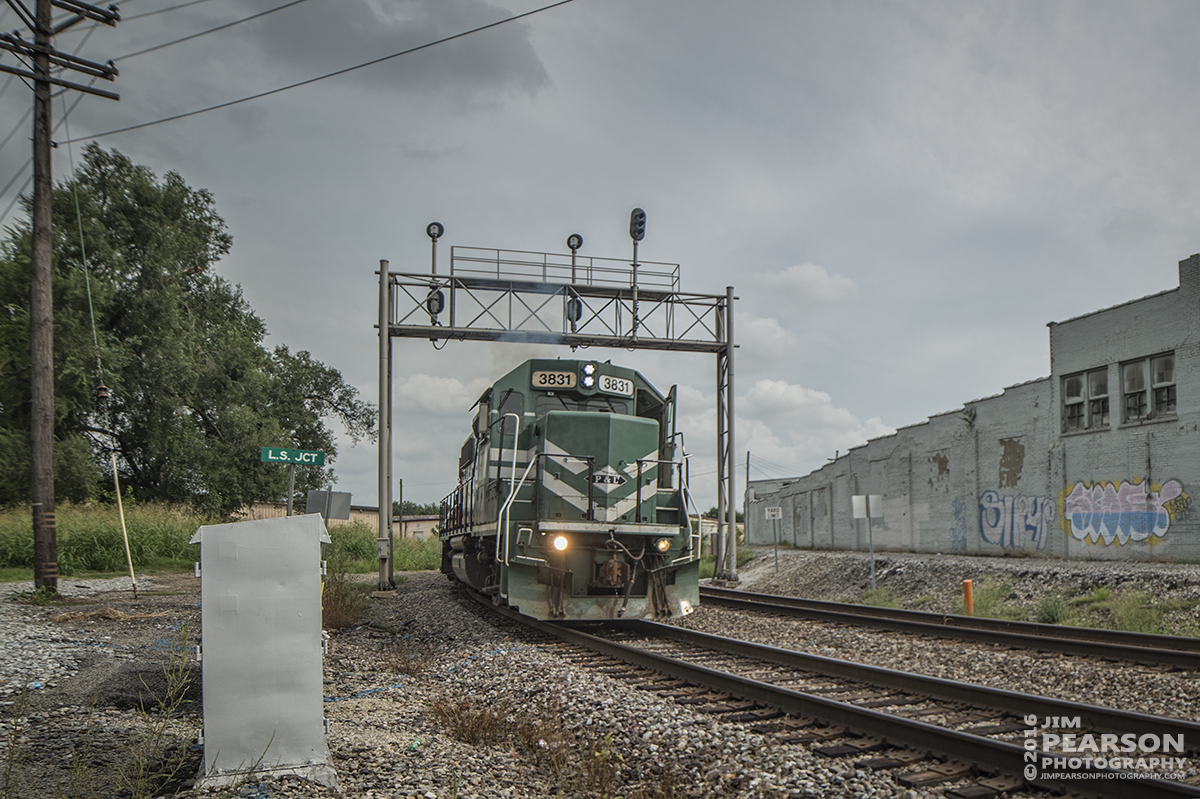 August 18, 2016 – Paducah and Louisville Railway engine 3831 leads a local train through Norfolk Southern's L.S. Junction at Louisville, Ky as it heads to the south.