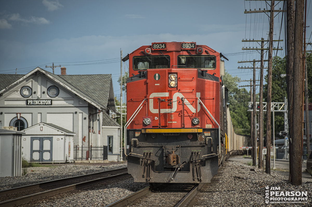 August 20, 2016 - Canadian National 8934 brings up the rear end, as a DPU, passing the Princeton, Indiana depot, as it heads east on a Norfolk Southern loaded coal train.