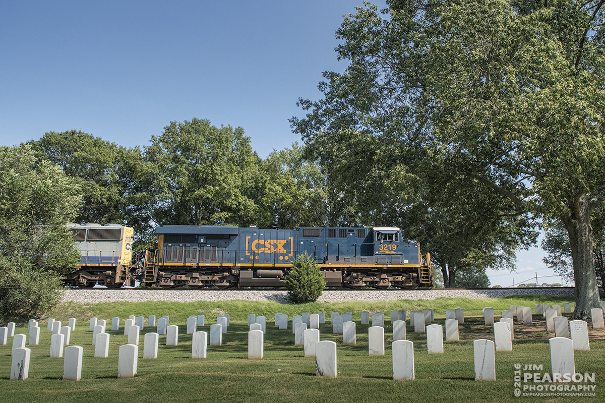September 9, 2016 - CSX Q647 (Chicago, IL - Waycross, GA) passes through the Nashville National Cemetery in Madison, Tennessee on it's way south. - Nikon D800