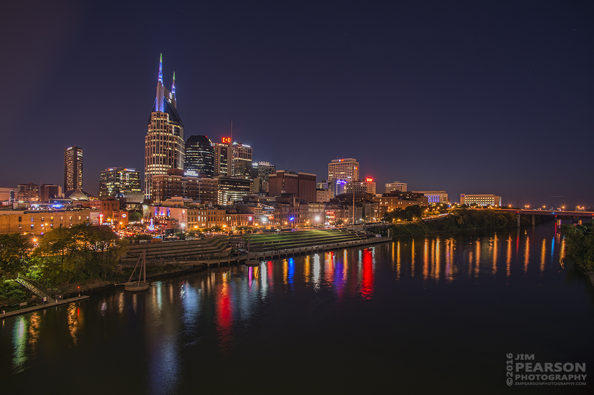 The skyline in downtown Nashville, Tennessee on September 10th, 2016.
