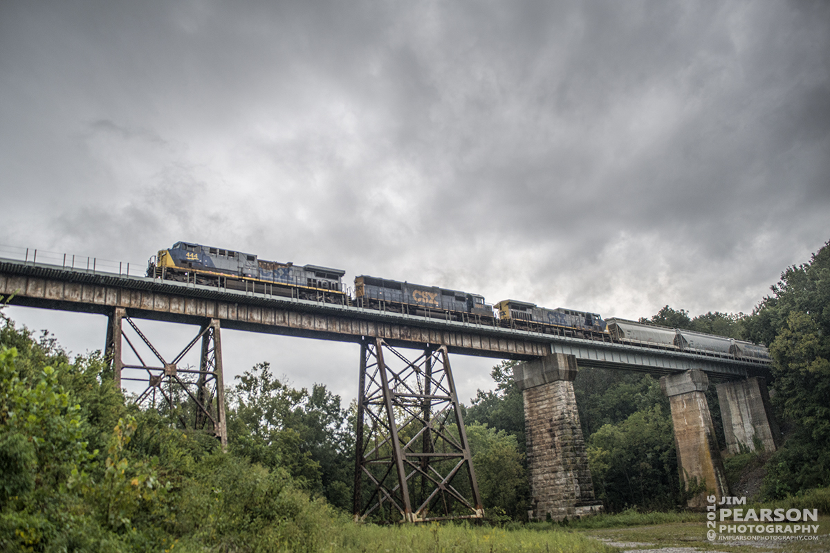 September 10, 2016 - CSX Q515-10 (Indianapolis, IN - Nashville, TN) heads across the Sulfur Creek Trestle at Springfield, Tn as it makes its way south on the Henderson Subdivision with CSXT 444 leading the way and 8667 and 96 trailing.
