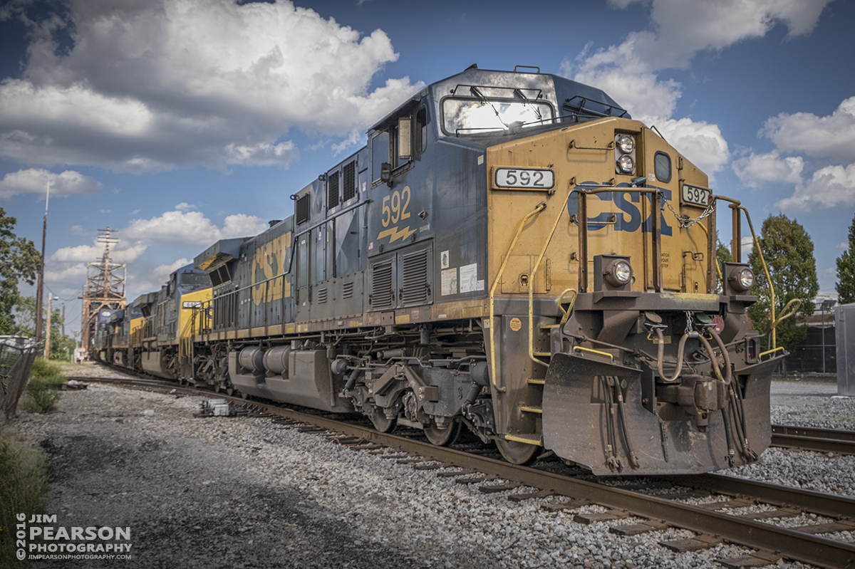 September 10, 2016 - CSXT 592 leads a CSX intermodal southbound off the CSX CR Drawbridge at Nashville, Tennessee on the Nashville Terminal Subdivision. This shot is kind of a milestone for me. It was shot with my new Fuji X-T1 mirrorless camera and a Fuji 18-23mm lens. I've been considering purchasing a mirrorless camera for quite sometime and I found a deal at Dury's Camera in Nashville on a mint used one that I just couldn't pass up. This is the first photo I shot with the camera and I've very pleased with the results I have got so far! Look for landscapes and other photos shot with it over the next few days and in the weeks to come. Still have my Nikon D800 and still shooting with it, but who knows what the future holds! Thanks to Nick Coury at Dury's for all the insights, along with friend Tom Barrows and Rennan Quijano! - #jimstrainphotos