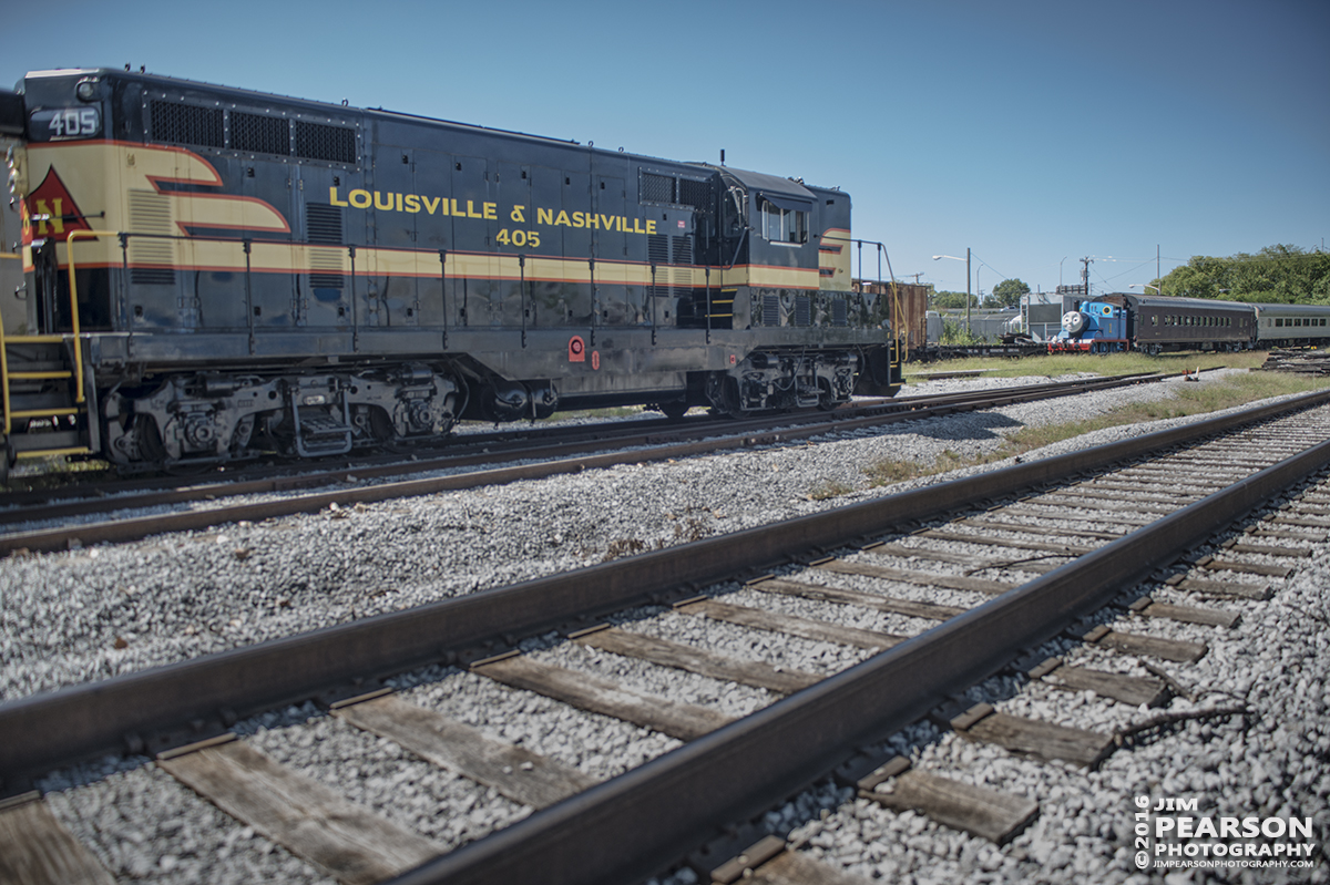 "September 10, 2016 - Louisville and Nashville 405 sits in the yard at the Tennessee Central Railway Museum as Thomas the Tank Engine leads a passenger train back into the yard at Nashville, Tennessee during ""A Day out with Thomas"" event."