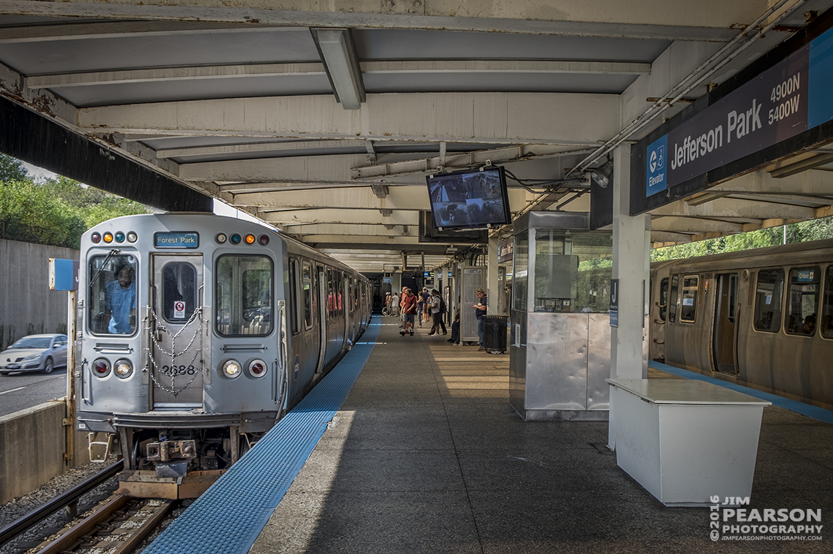 September 25, 2016 - The CTA blue line train to Forest Park arrives at the Jefferson Park station as it heads toward Chicago.