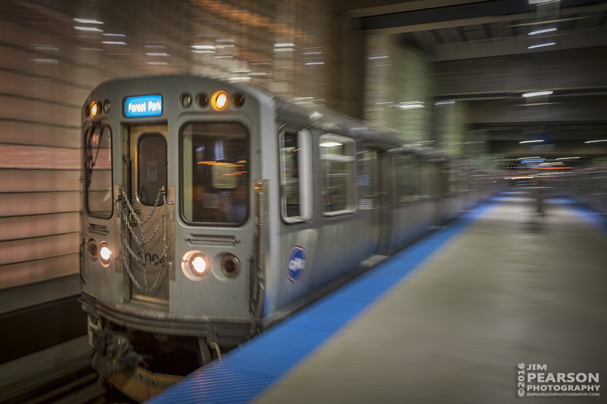 September 25, 2016 - The CTA blue line train to Forest Park leaves the Chicago O'Hare station as it heads south toward Chicago.