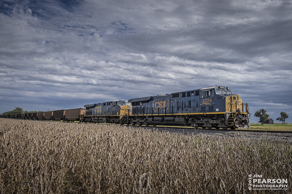September 28, 2016 - CSX empty coal train, N018-24 heads up CSX's Morganfield Branch, just outside of Nebo, Ky on its way to Dotki Mine at Clay, Ky to pickup a load of coal.