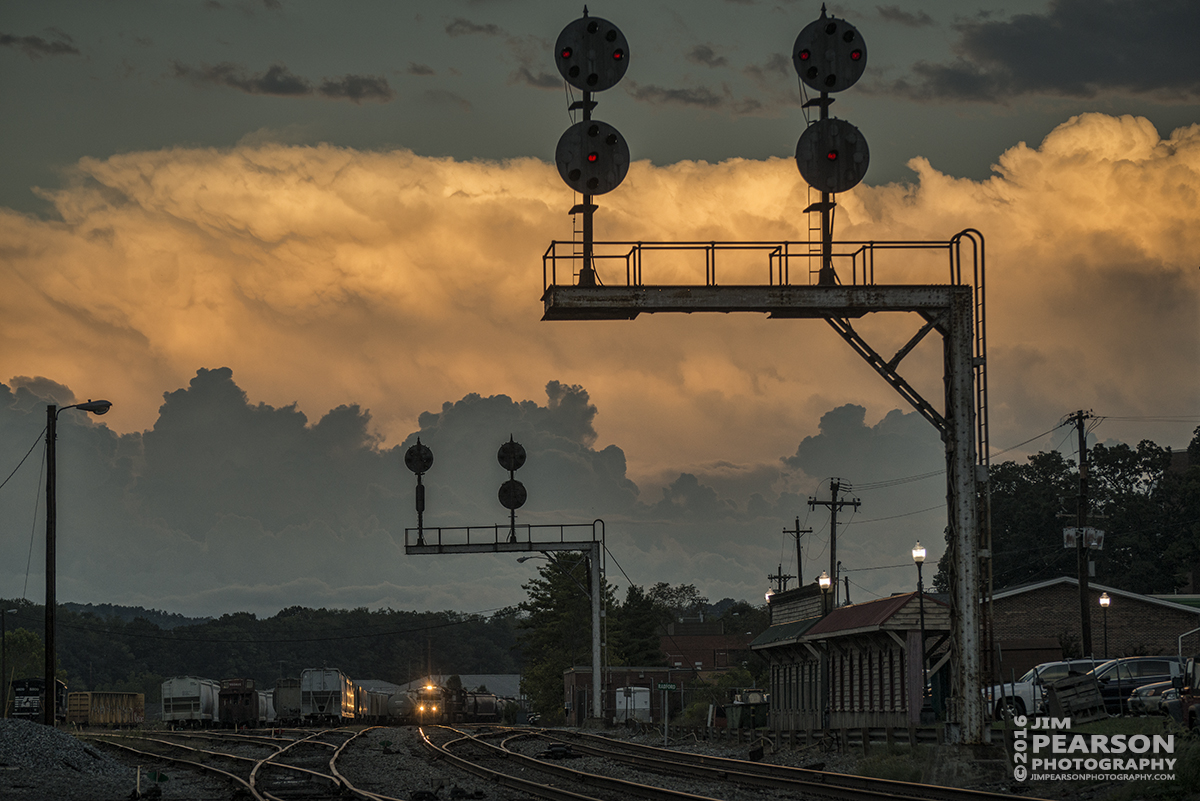 September 29, 2016 - A Norfolk Southern set of light engines work the yard at Radford, VA as the last light of the sun illuminates the clouds.