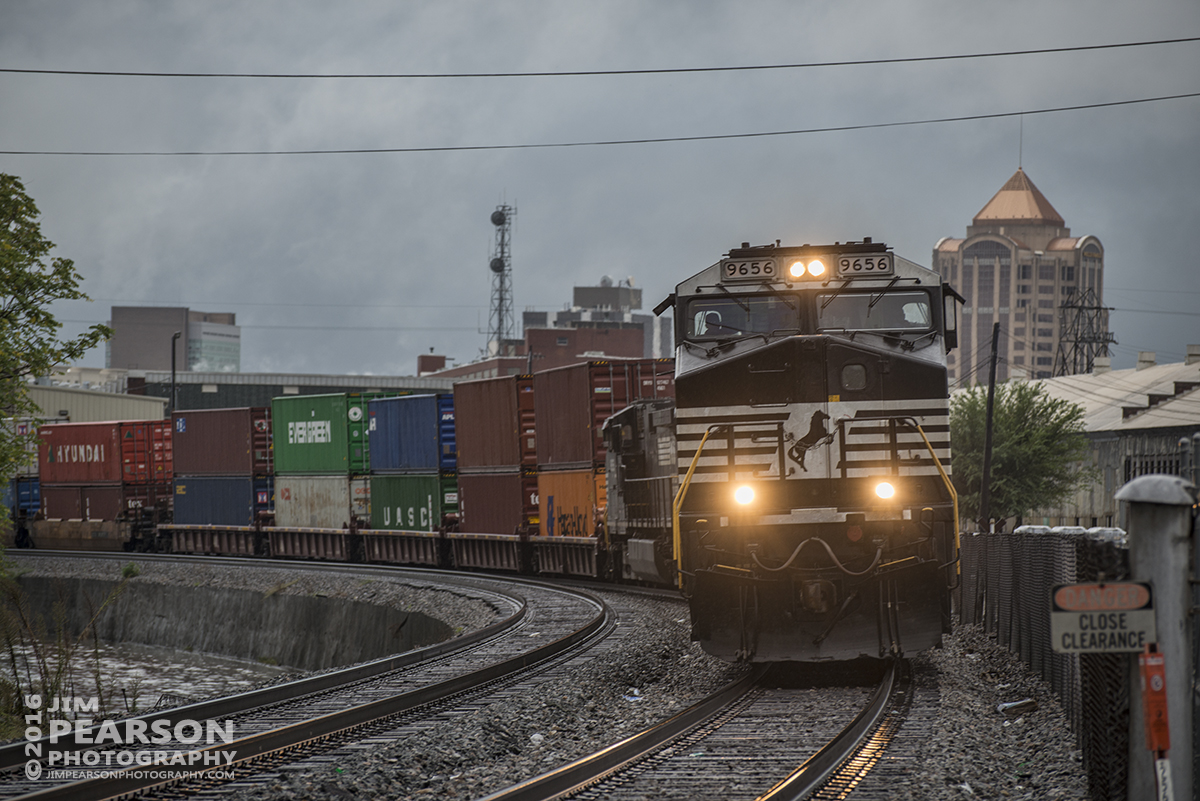 September 30, 2016 - A Norfolk Southern Intermodal heads east out of Roanoke, Virginia with NS 9656 leading the way.