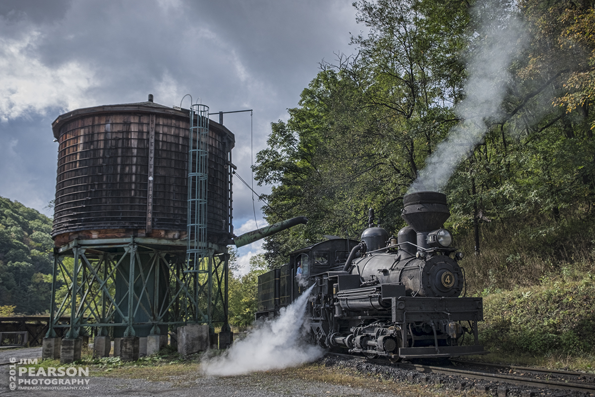 October 1, 2016 - Cass Scenic Railroad's Number 4 Shay engine, a C-70 locomotive put into service originally in 1922 with the Birch Valley Lumber Company in Tioga, West Virginia as number 5, blows off steam after taking on water at the water tower before starting the day at Cass, West Virginia.